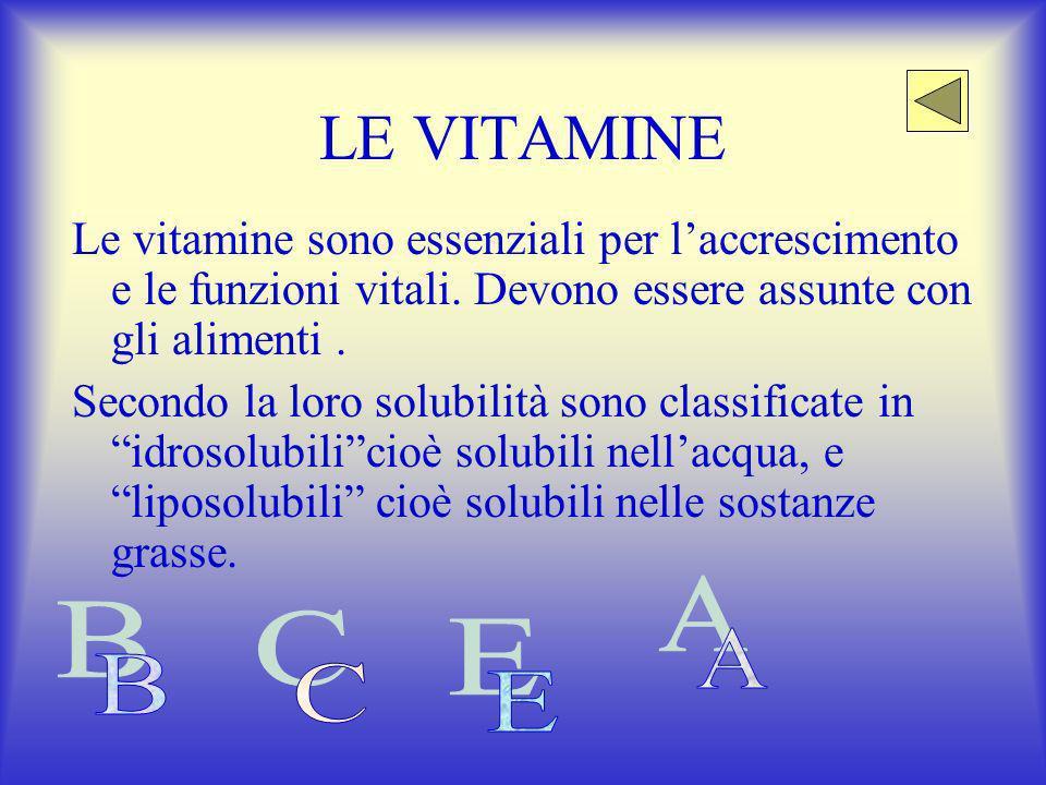 LE VITAMINE Le vitamine sono essenziali per l'accrescimento e le funzioni vitali. Devono essere assunte con gli alimenti .