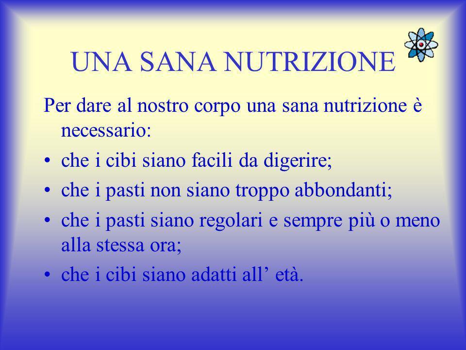 UNA SANA NUTRIZIONE Per dare al nostro corpo una sana nutrizione è necessario: che i cibi siano facili da digerire;