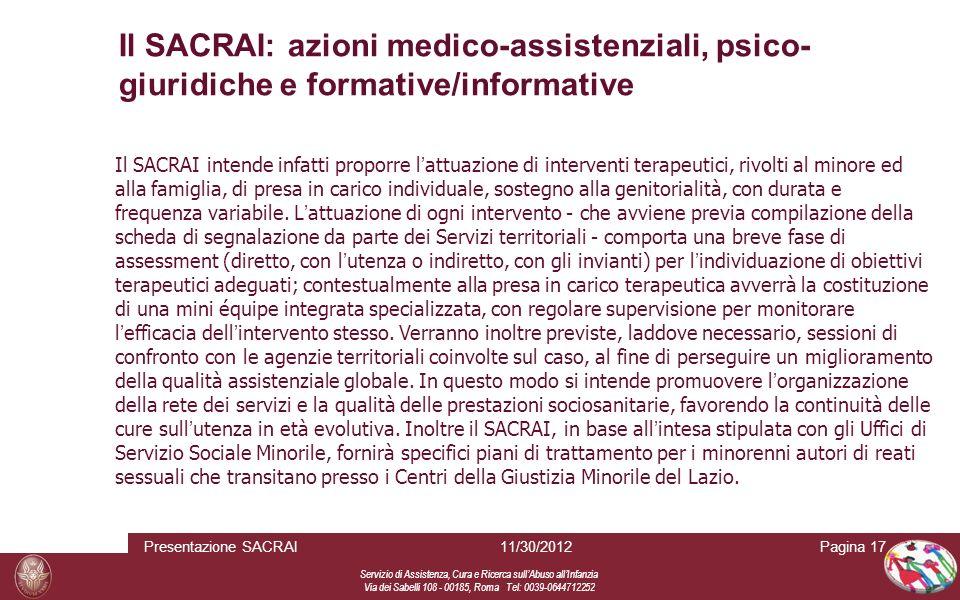 Il SACRAI: azioni medico-assistenziali, psico-giuridiche e formative/informative