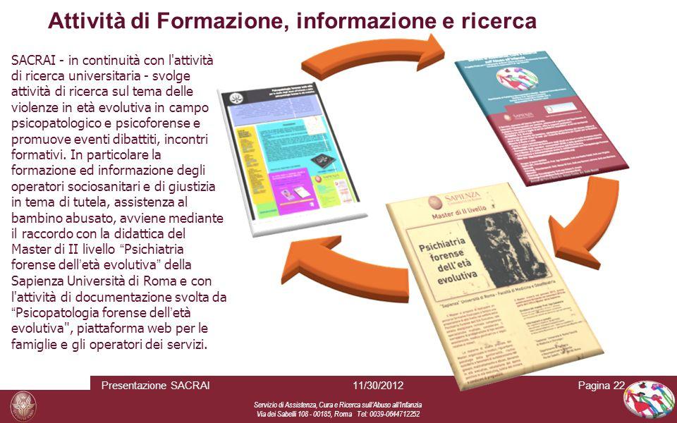 Attività di Formazione, informazione e ricerca