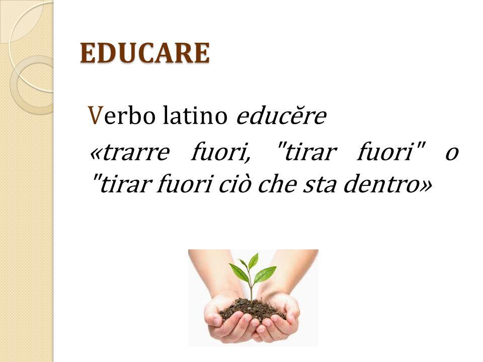 EDUCARE Verbo latino educĕre «trarre fuori, tirar fuori o tirar fuori ciò che sta dentro»