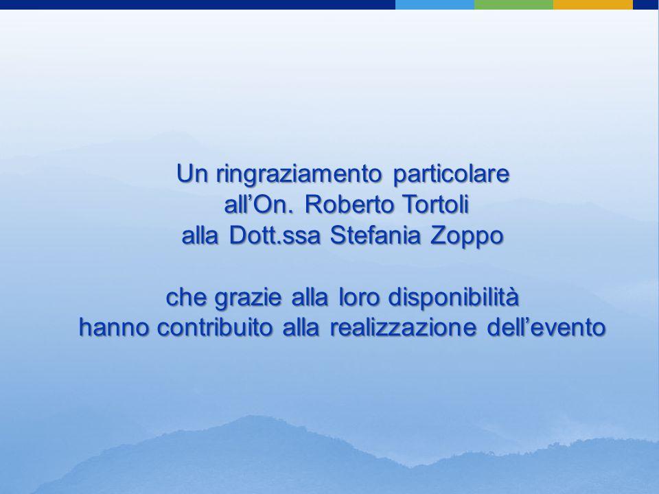 Un ringraziamento particolare all'On. Roberto Tortoli