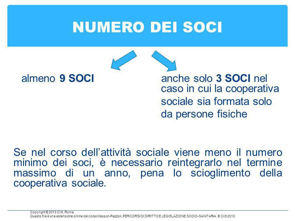 NUMERO DEI SOCI sociale sia formata solo da persone fisiche