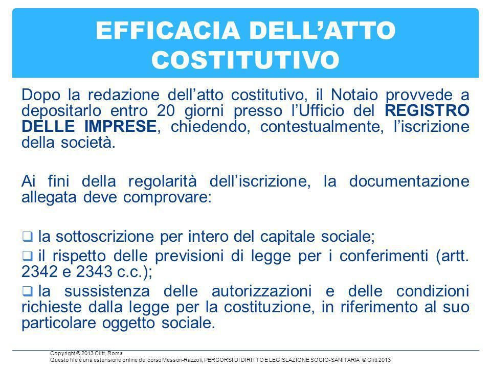 EFFICACIA DELL'ATTO COSTITUTIVO