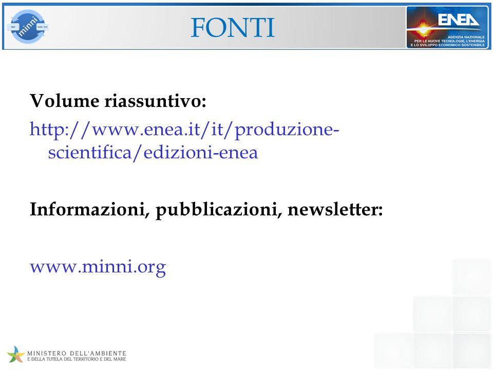 FONTI Volume riassuntivo: http://www.enea.it/it/produzione- scientifica/edizioni-enea Informazioni, pubblicazioni, newsletter: www.minni.org