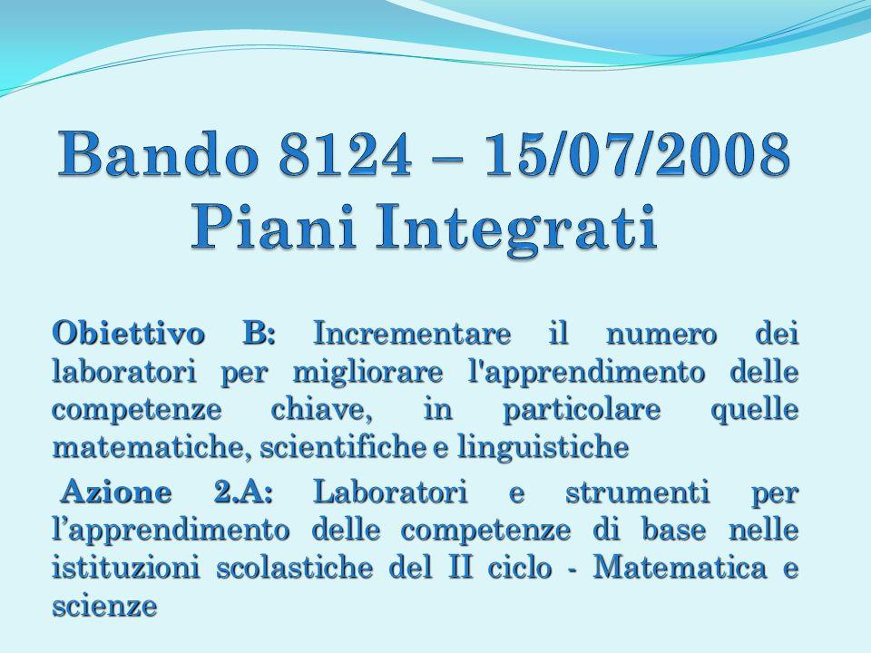 Bando 8124 – 15/07/2008 Piani Integrati