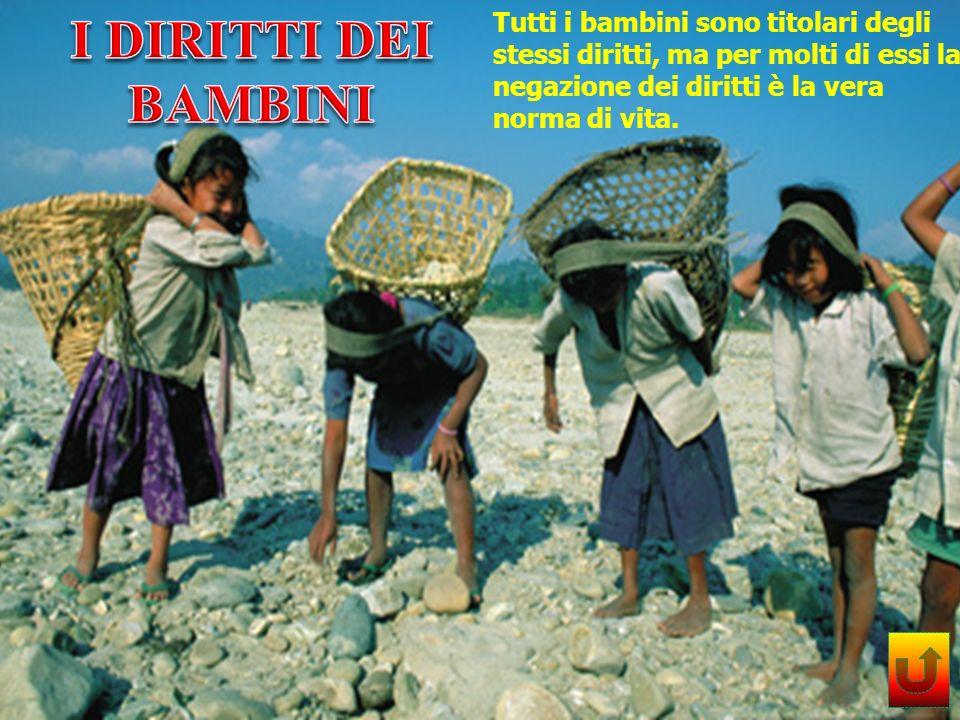 I DIRITTI DEI BAMBINI Tutti i bambini sono titolari degli stessi diritti, ma per molti di essi la negazione dei diritti è la vera norma di vita.
