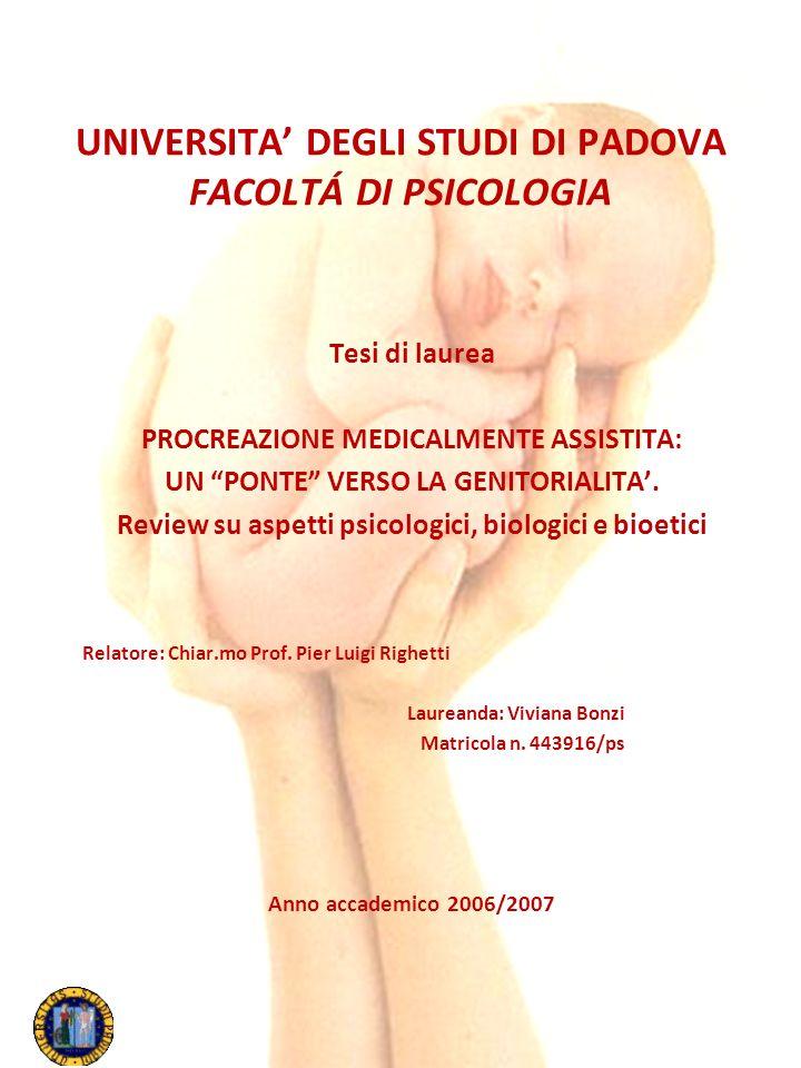 UNIVERSITA' DEGLI STUDI DI PADOVA FACOLTÁ DI PSICOLOGIA