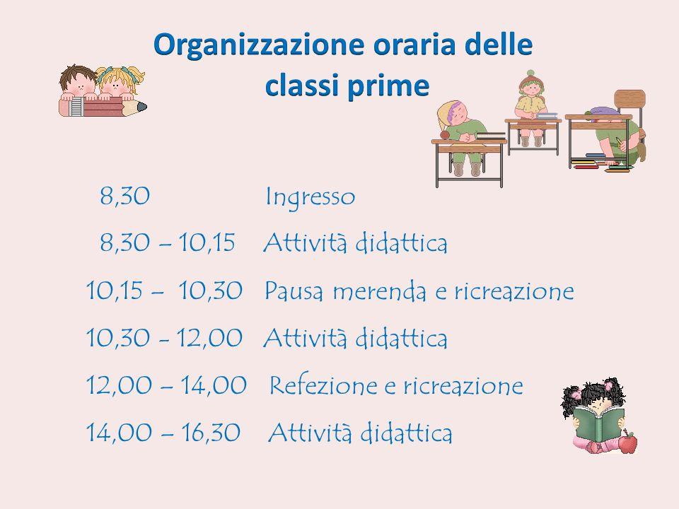 Organizzazione oraria delle classi prime