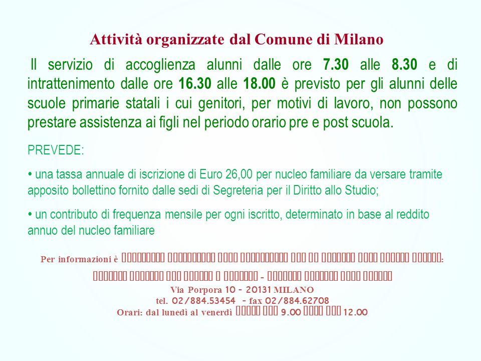 Attività organizzate dal Comune di Milano