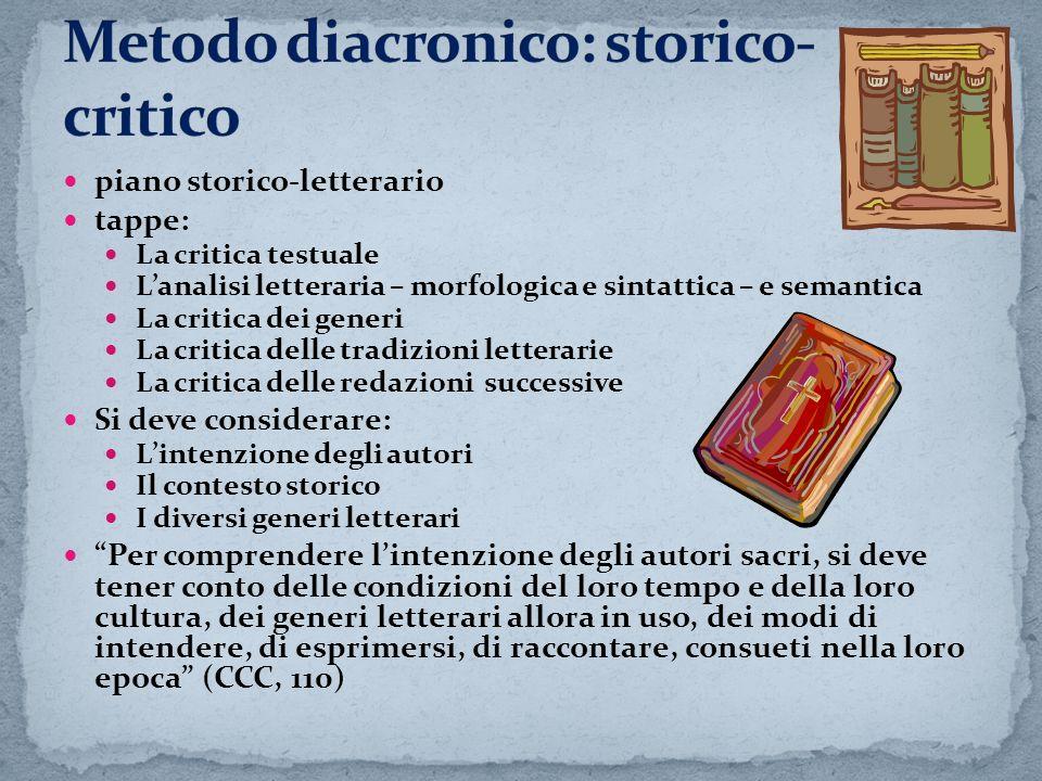 Metodo diacronico: storico- critico