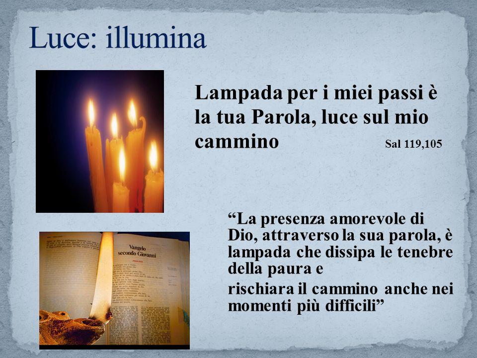Luce: illumina Lampada per i miei passi è la tua Parola, luce sul mio