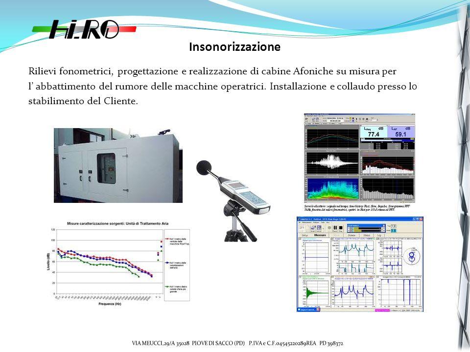 Insonorizzazione Rilievi fonometrici, progettazione e realizzazione di cabine Afoniche su misura per.
