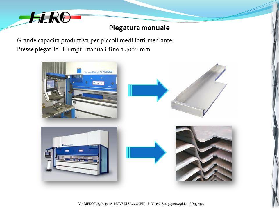 Piegatura manuale Grande capacità produttiva per piccoli medi lotti mediante: Presse piegatrici Trumpf manuali fino a 4000 mm