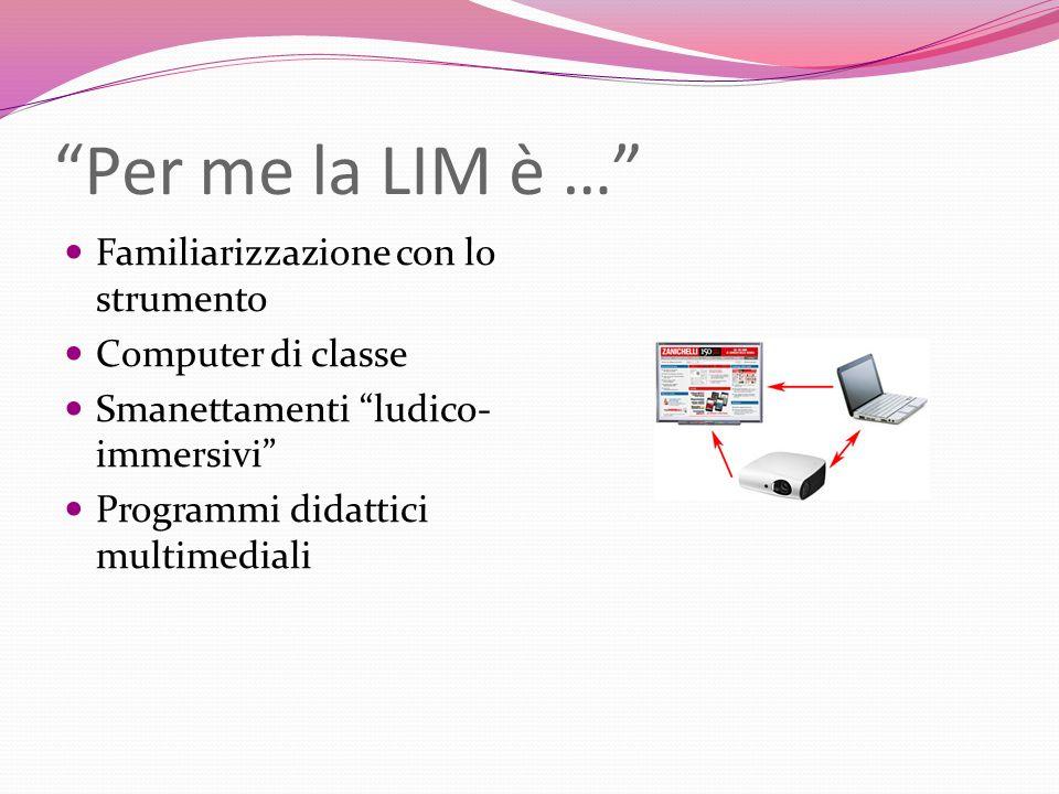Per me la LIM è … Familiarizzazione con lo strumento