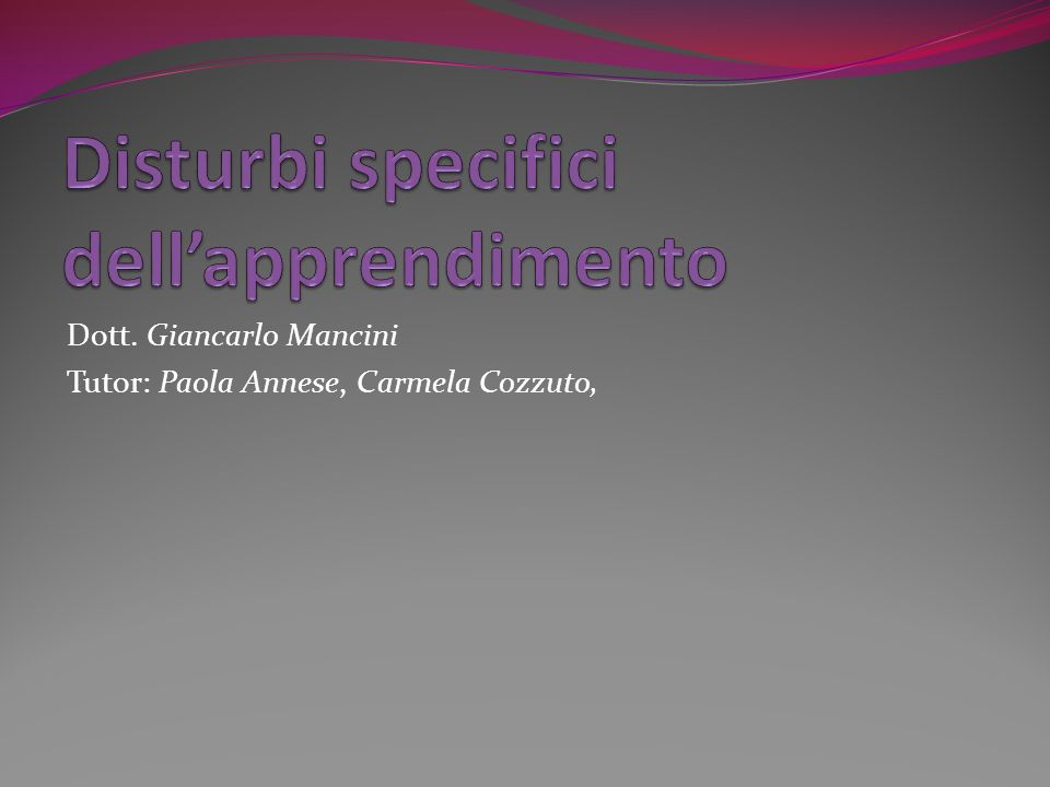 Disturbi specifici dell'apprendimento
