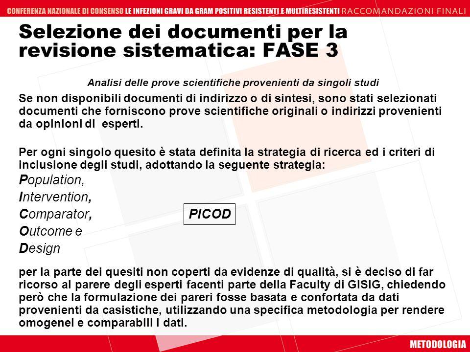 Selezione dei documenti per la revisione sistematica: FASE 3