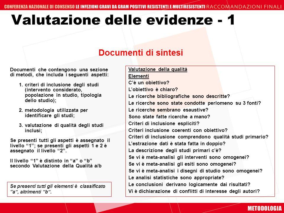 Valutazione delle evidenze - 1