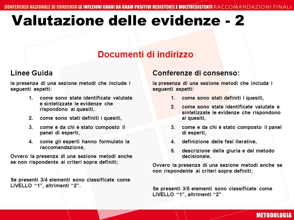 Valutazione delle evidenze - 2