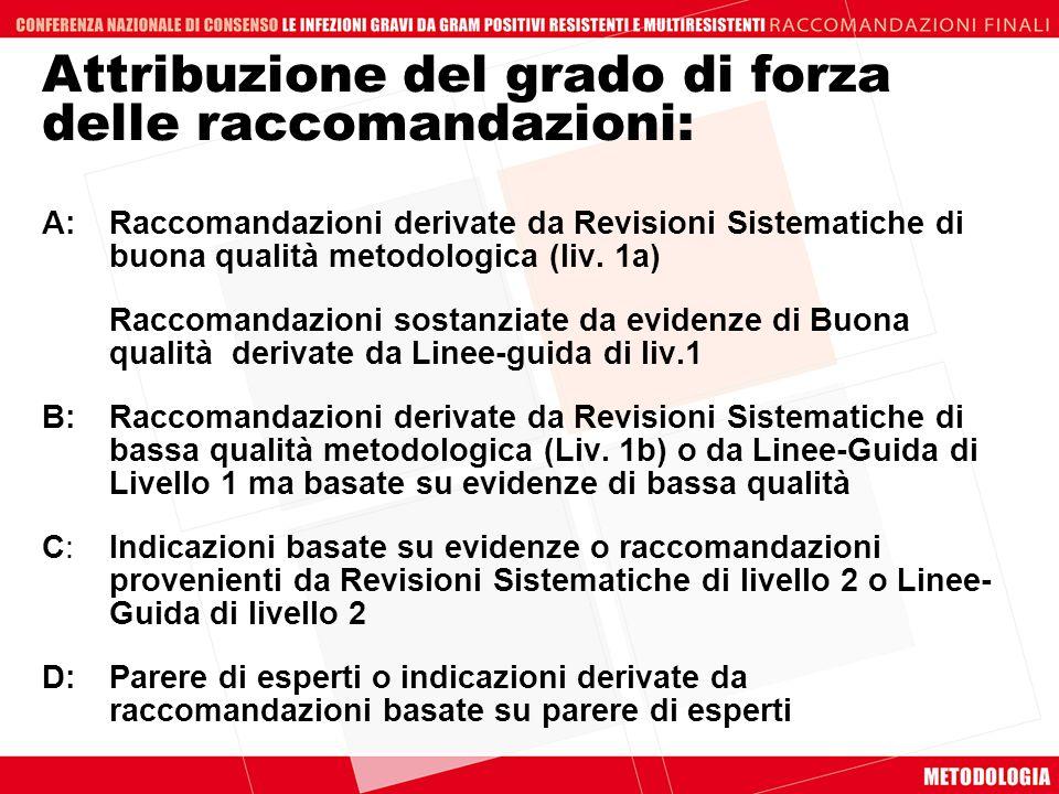 Attribuzione del grado di forza delle raccomandazioni: