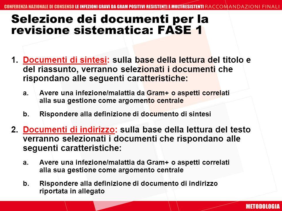 Selezione dei documenti per la revisione sistematica: FASE 1