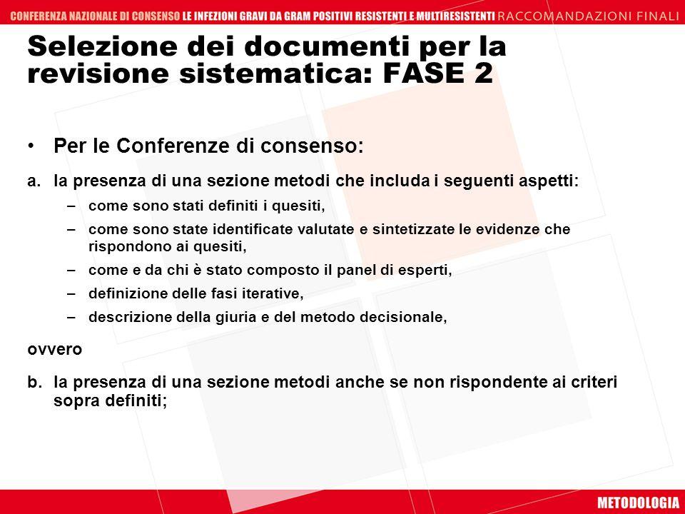 Selezione dei documenti per la revisione sistematica: FASE 2