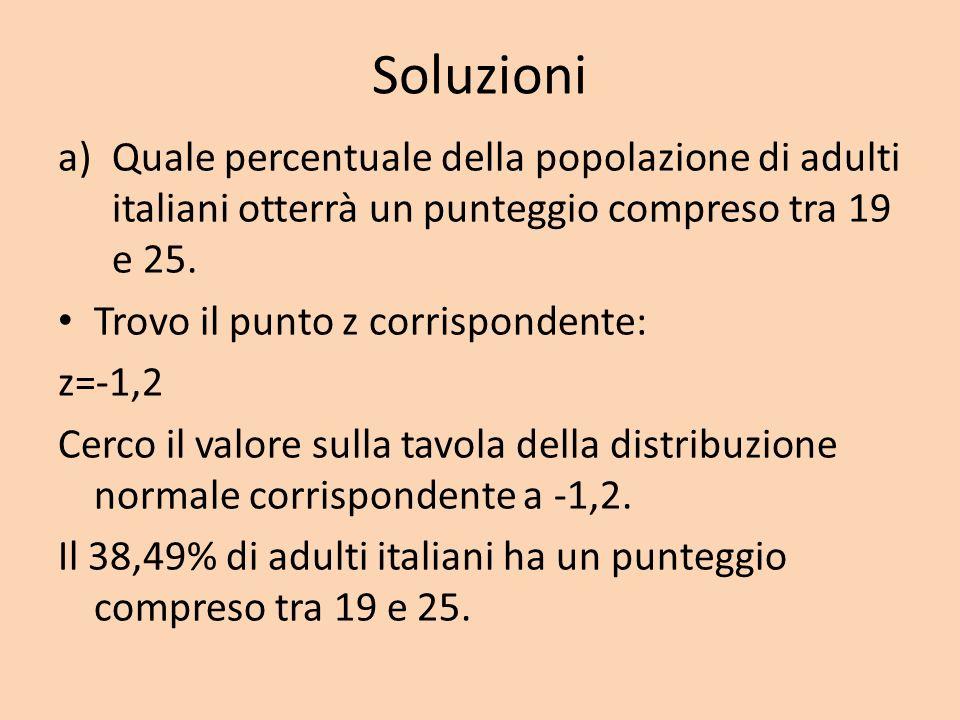SoluzioniQuale percentuale della popolazione di adulti italiani otterrà un punteggio compreso tra 19 e 25.