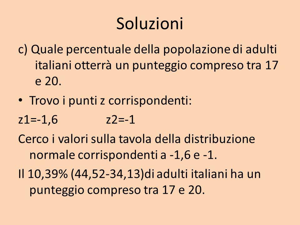 Soluzioni c) Quale percentuale della popolazione di adulti italiani otterrà un punteggio compreso tra 17 e 20.