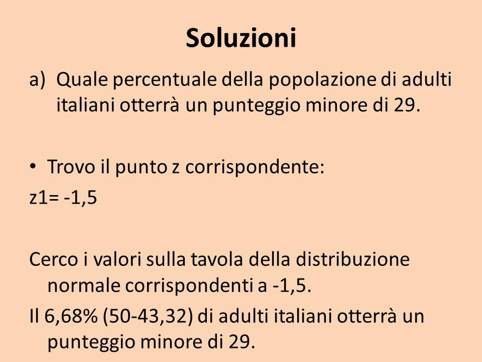 SoluzioniQuale percentuale della popolazione di adulti italiani otterrà un punteggio minore di 29. Trovo il punto z corrispondente: