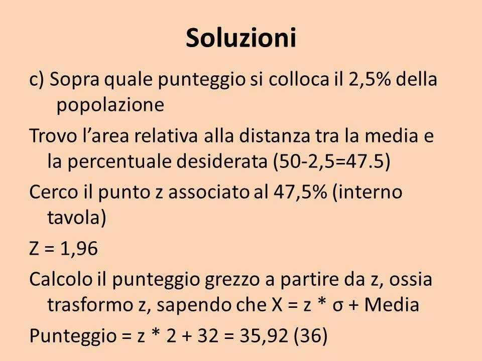 Soluzioni c) Sopra quale punteggio si colloca il 2,5% della popolazione.