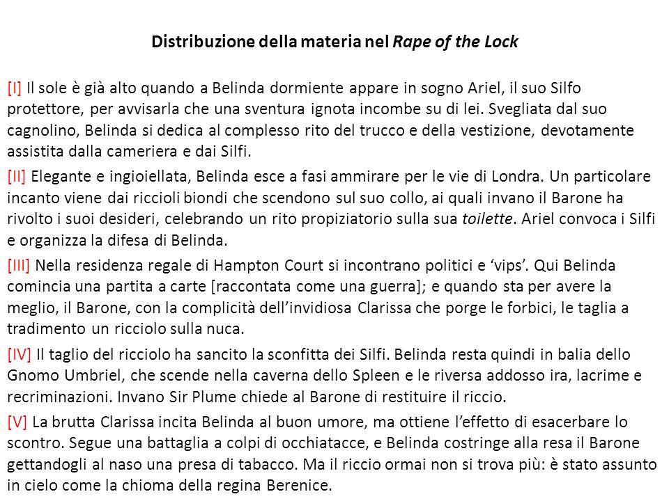 Distribuzione della materia nel Rape of the Lock