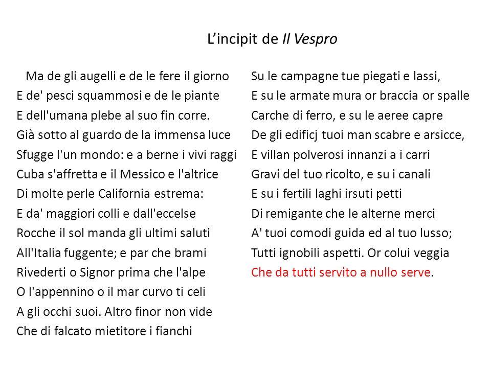 L'incipit de Il Vespro
