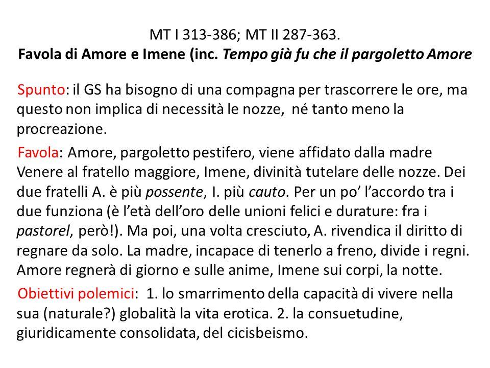 MT I 313-386; MT II 287-363. Favola di Amore e Imene (inc