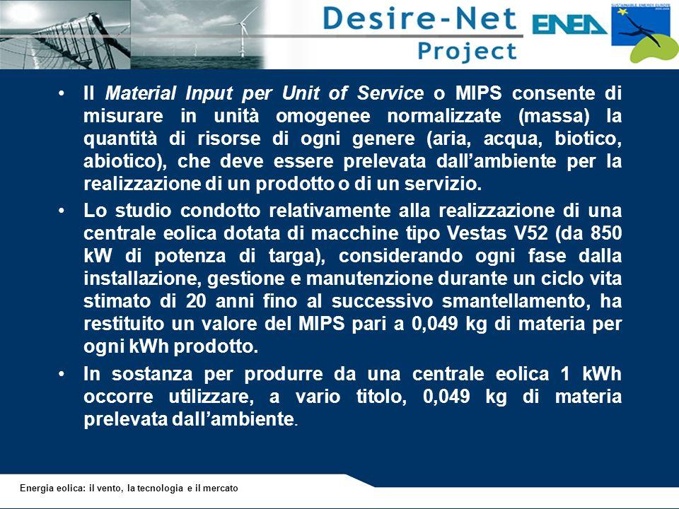 Il Material Input per Unit of Service o MIPS consente di misurare in unità omogenee normalizzate (massa) la quantità di risorse di ogni genere (aria, acqua, biotico, abiotico), che deve essere prelevata dall'ambiente per la realizzazione di un prodotto o di un servizio.