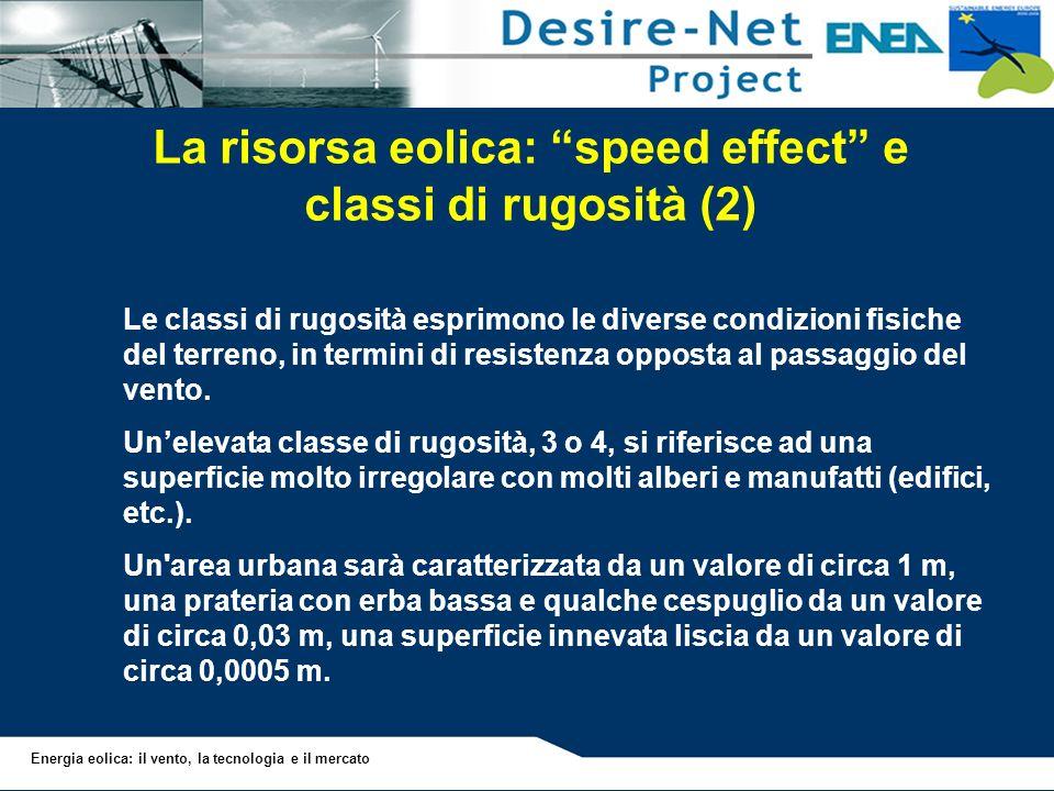 La risorsa eolica: speed effect e classi di rugosità (2)