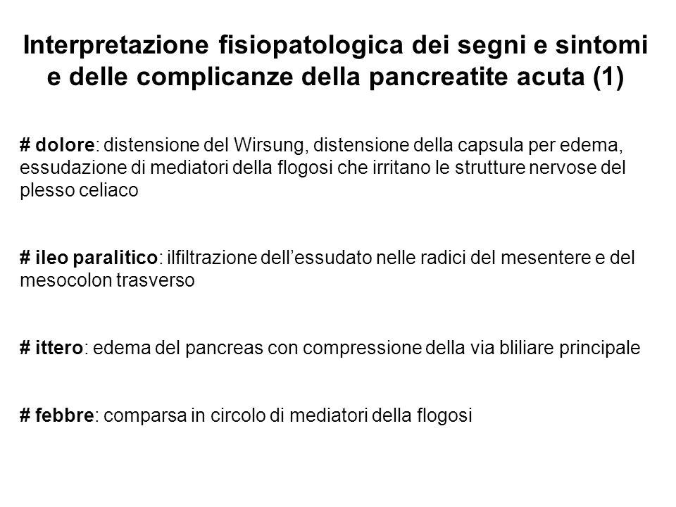 Interpretazione fisiopatologica dei segni e sintomi e delle complicanze della pancreatite acuta (1)
