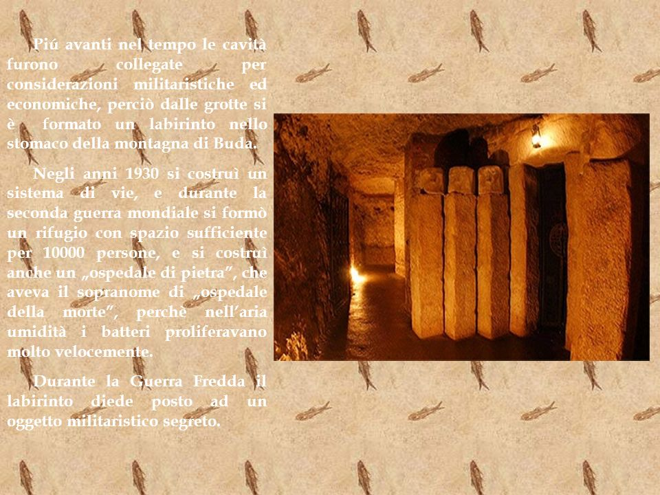 Piú avanti nel tempo le cavità furono collegate per considerazioni militaristiche ed economiche, perciò dalle grotte si è formato un labirinto nello stomaco della montagna di Buda.