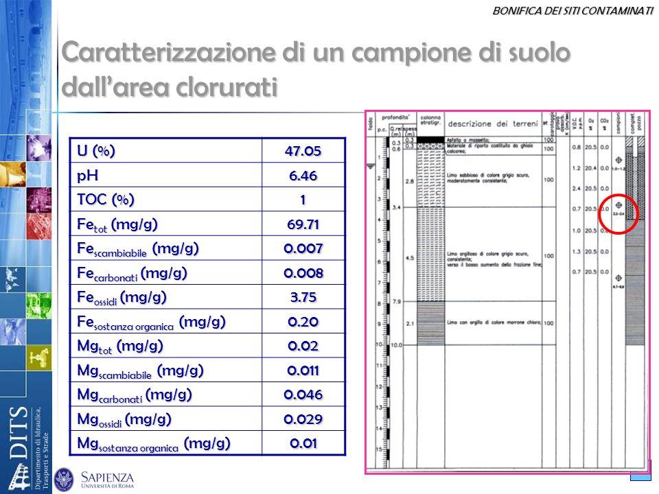 Caratterizzazione di un campione di suolo dall'area clorurati