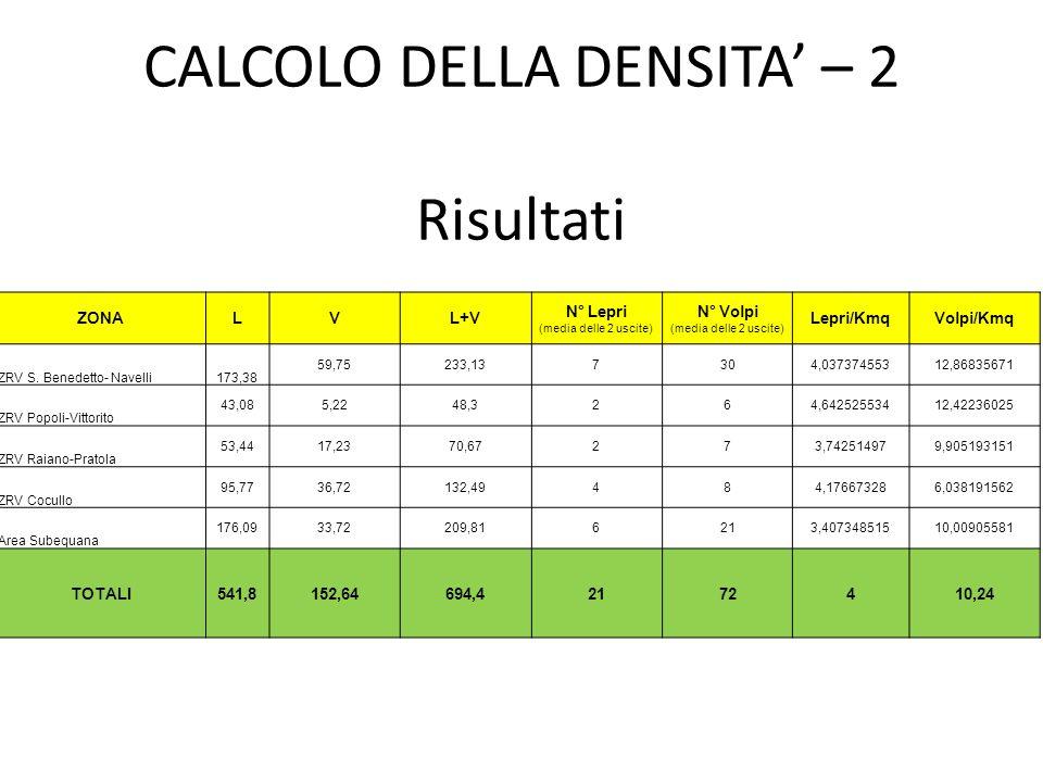 CALCOLO DELLA DENSITA' – 2 Risultati