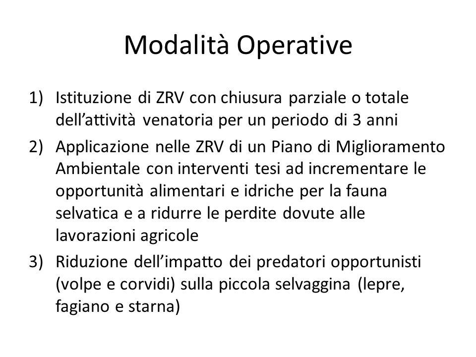 Modalità Operative Istituzione di ZRV con chiusura parziale o totale dell'attività venatoria per un periodo di 3 anni.