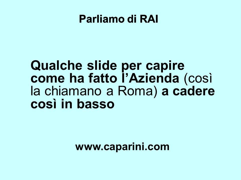 Parliamo di RAI Parliamo di RAI. Parliamo di RAI. Qualche slide per capire come ha fatto l'Azienda (così la chiamano a Roma) a cadere così in basso.