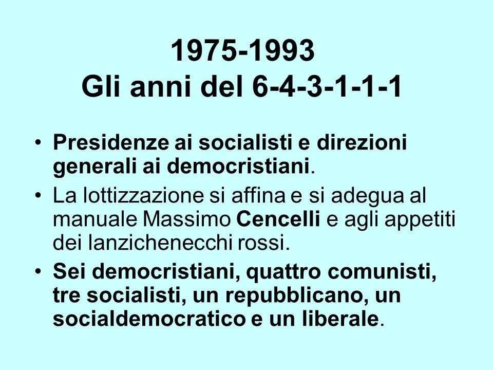 1975-1993 Gli anni del 6-4-3-1-1-1 Presidenze ai socialisti e direzioni generali ai democristiani.