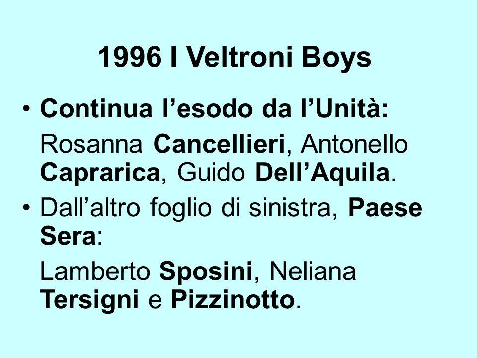 1996 I Veltroni Boys Continua l'esodo da l'Unità: