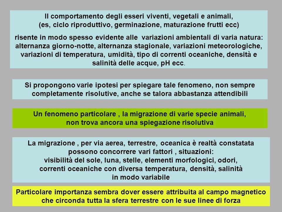 Il comportamento degli esseri viventi, vegetali e animali, (es, ciclo riproduttivo, germinazione, maturazione frutti ecc)