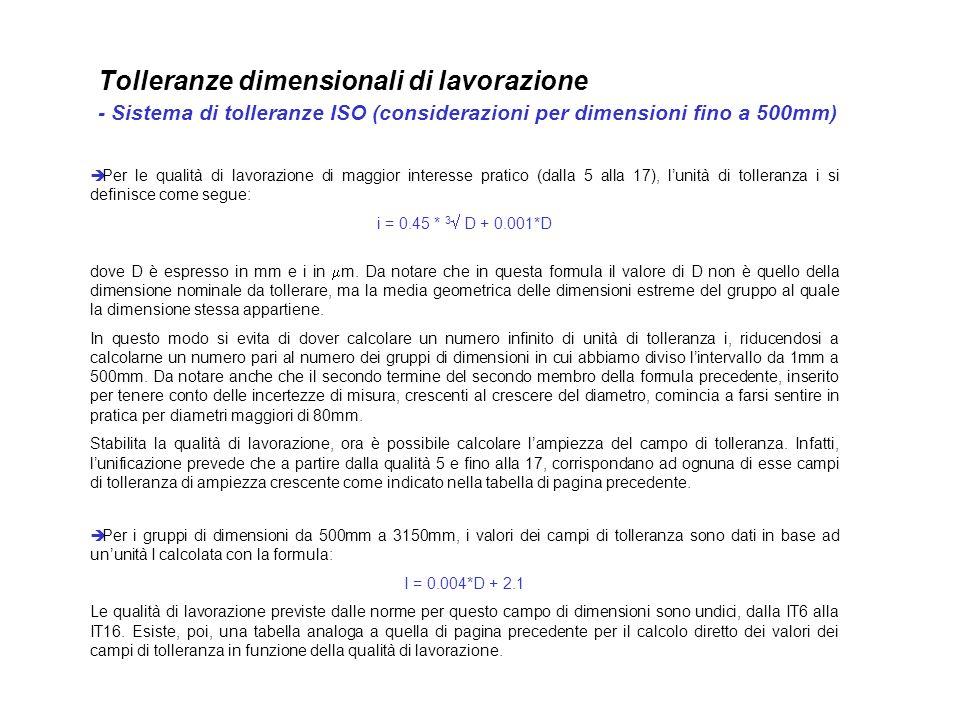 Tolleranze dimensionali di lavorazione - Sistema di tolleranze ISO (considerazioni per dimensioni fino a 500mm)