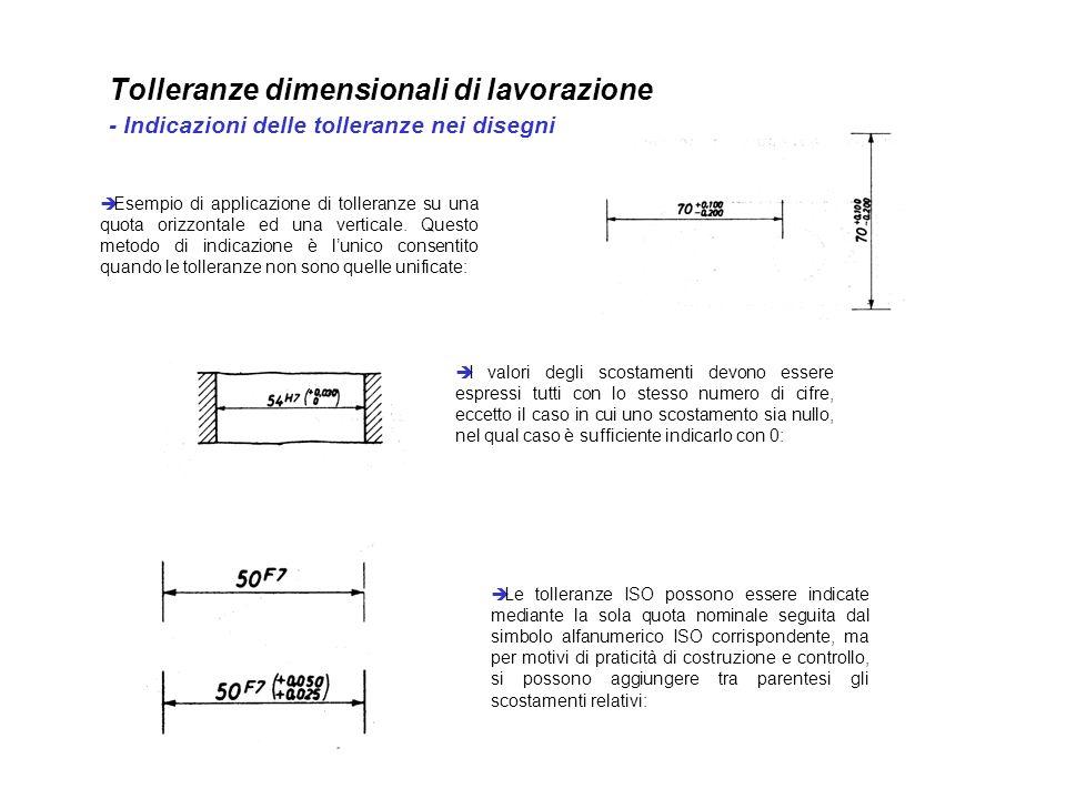 Tolleranze dimensionali di lavorazione - Indicazioni delle tolleranze nei disegni