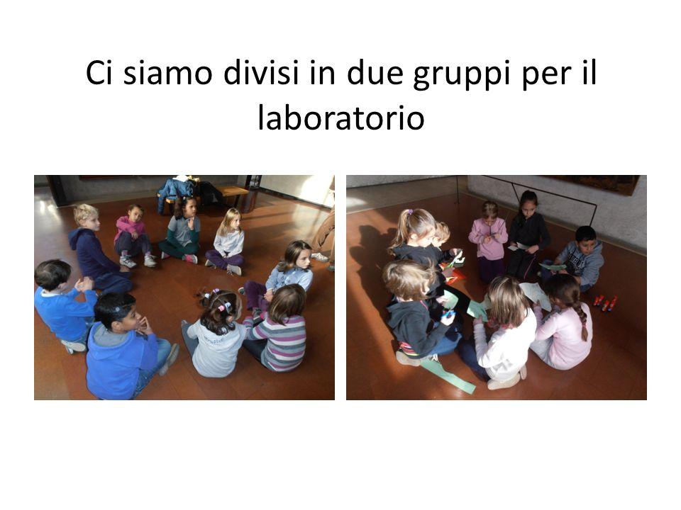 Ci siamo divisi in due gruppi per il laboratorio