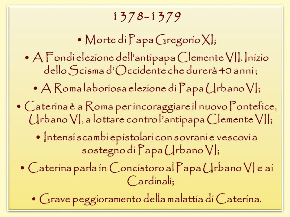 1378-1379 • Morte di Papa Gregorio XI;