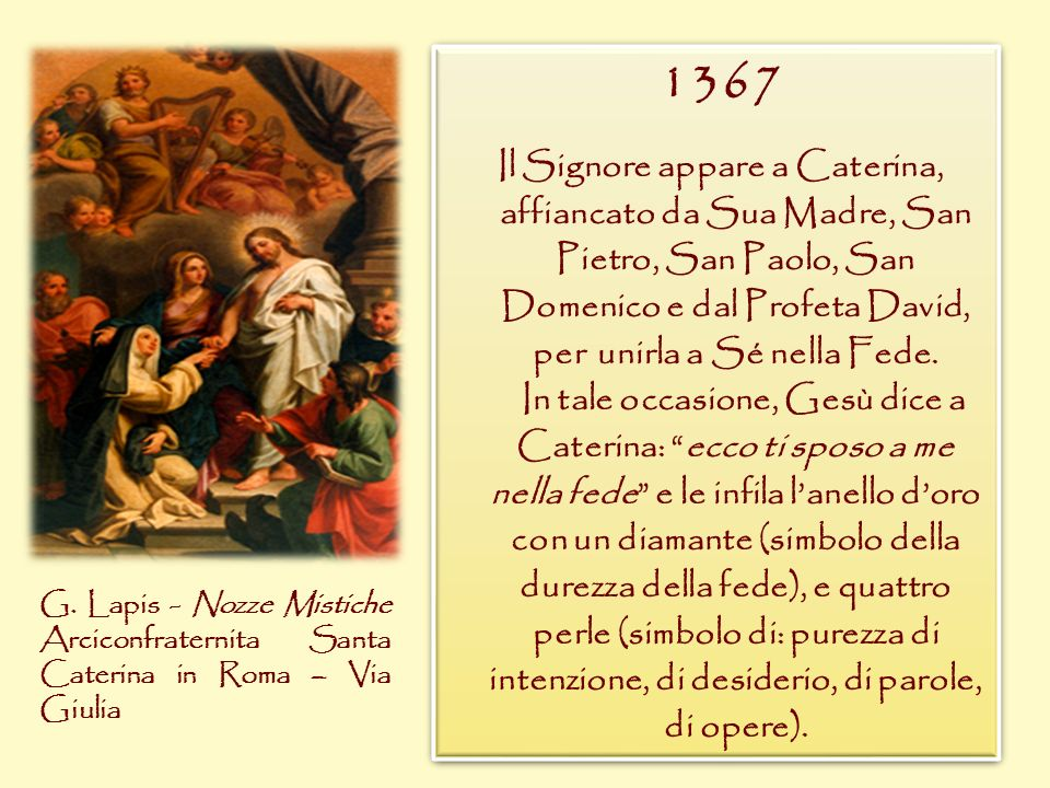 1367 Il Signore appare a Caterina, affiancato da Sua Madre, San Pietro, San Paolo, San Domenico e dal Profeta David, per unirla a Sé nella Fede.