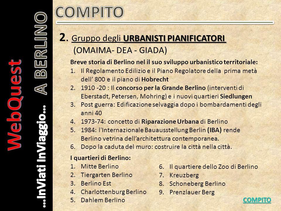 WebQuest A BERLINO COMPITO 2. Gruppo degli URBANISTI PIANIFICATORI